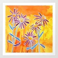 Asters Wildflowers Art Print