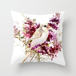 White Canary Bird and Purple Flowers Throw Pillow