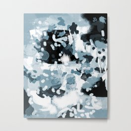 Minerva - abstract art home decor dorm college office minimal painting blue black white Metal Print