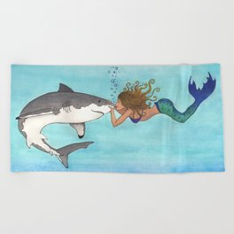 The Shark and the Mermaid Beach Towel