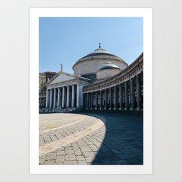 Napoli, Piazza del Plebiscito, Italy landmark, Naples photo, italian art, neoclassical architecture Art Print