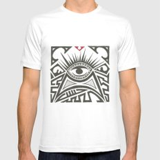 All seeing eye White MEDIUM Mens Fitted Tee
