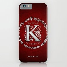 Joshua 24:15 - (Silver on Red) Monogram K Slim Case iPhone 6s