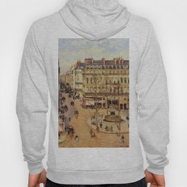 Rue Saint Honore Morning Sun Effect Place Du Theatre Francais 1898 By Camille Pissarro | Reproductio Hoody