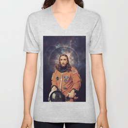 "Jesus ""Space Age"" Christ - A Holy Astronaut Unisex V-Neck"