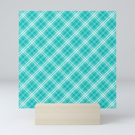 Aqua Blue & White Diagonal Plaid Scottish Clan Mini Art Print