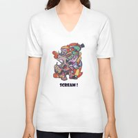 scream V-neck T-shirts featuring Scream by Michalis Rodosthenous