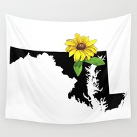 maryland Wall Tapestries featuring Maryland Silhouette and Flower by Ursula Rodgers