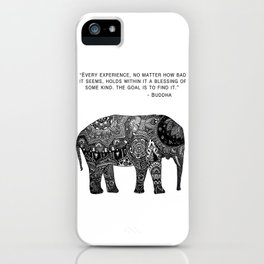 Buddha Quote with Henna Elephant iPhone Case