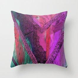 Purple Chevron Trippyness Throw Pillow