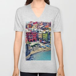Italy Liguria Cinque Terre Seaside Colorful Houses Unisex V-Neck