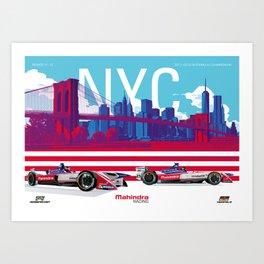 Mahindra Racing FIA Formula E Season 4 New York City E-Prix Poster Art Print