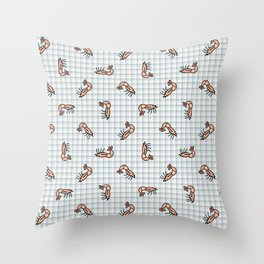 Cute pink shrimp cartoon. Hand drawn crustacean for marine animal blog. Prawn arthropod. Ocean wildlife background.  Throw Pillow