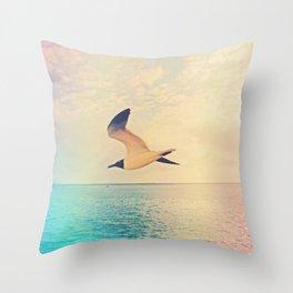 Soaring Seagull Throw Pillow