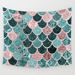 Mermaid Fish Scales, Pink, Rose Gold, Teal, Emerald Green Wall Tapestry