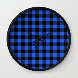 Royal Blue and Black Lumberjack Buffalo Plaid Fabric Wall Clock