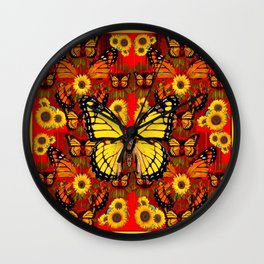 COFFEE BROWN MONARCH BUTTERFLY SUNFLOWERS Wall Clock