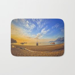 Colorful sea beach sunrise. Panoramic Olympos Beach, Cirali, Turkey Bath Mat