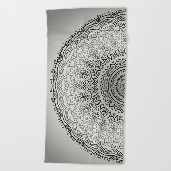 Grey Mandala Beach Towel