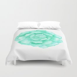Jovibarba Heuff Bermuda - Green Succulent Duvet Cover