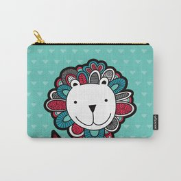 Doodle Lion on Aqua Triangle Background Carry-All Pouch