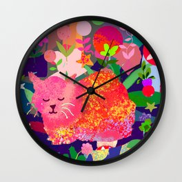 Sleeping Cat with Abstract Background Wall Clock