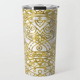 Golden Ornamental Mandala on White Marble Travel Mug