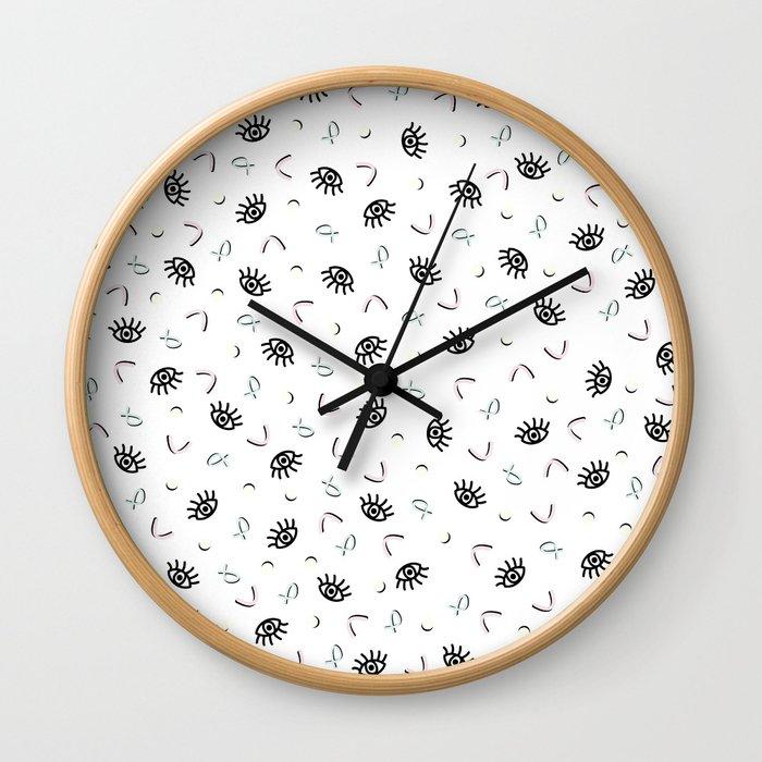 Eye Spy - Funky Memphis 80's Pattern Wall Clock