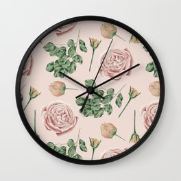 Flower Shop Roses on Blush Pink Wall Clock