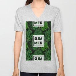 Tropical green monster leaves floral summer typography Unisex V-Neck