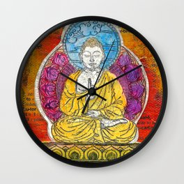 Yellow Buddha Wall Clock