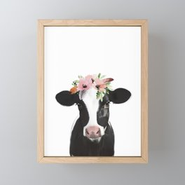 Cow with flower crown Framed Mini Art Print