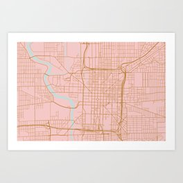 Pink and gold Indianapolis map Art Print