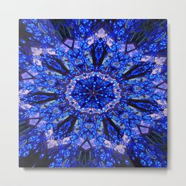 Blue Knight Starburst Mandala Metal Print