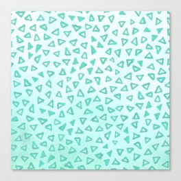 Teal Glitter Triangles Canvas Print