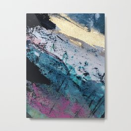 Twilight [2]: a beautiful, abstract watercolor + mixed-media piece in blue, gold, purple, + pink Metal Print