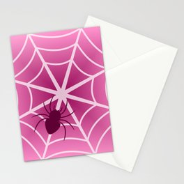 Spider web in pink Stationery Cards