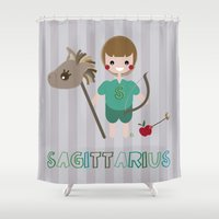 sagittarius Shower Curtains featuring Sagittarius by Esther Ilustra