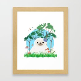 Super cute white two toed Sloth Framed Art Print