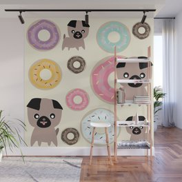 Pug and donuts beige Wall Mural