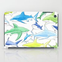 sharks iPad Cases featuring sharks by Kathryn Rickards