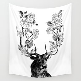 The Stag and Roses | Black and White Wall Tapestry