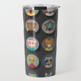 Set of animals faces circle icons set in Trendy Flat Style. zoo Travel Mug