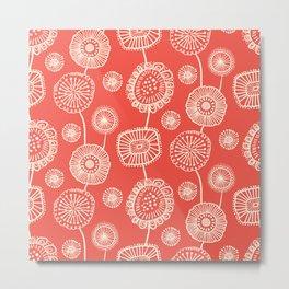 Doodle Floral in Red Metal Print