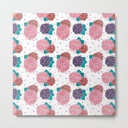 Blush pink purple watercolor hydrangea floral polka dots Metal Print