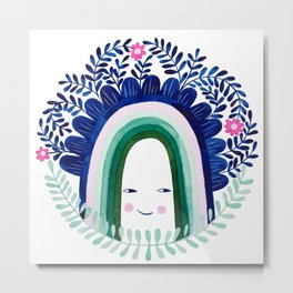 floral blue rainbow watercolor illustration Metal Print