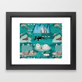 Arctic animals teal Framed Art Print
