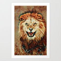 Angry Lion Mosaic Art Print