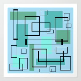 Mid Century Modern Rectangles Art Print