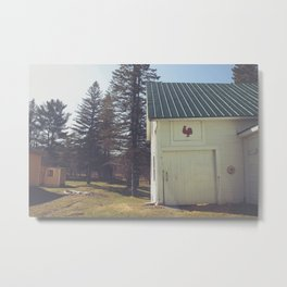 White Barn Red Rooster Metal Print